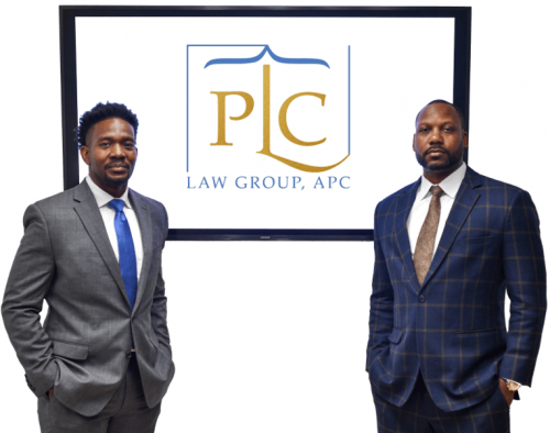 Lawyers of PLC Law Group next to logo on wht bg